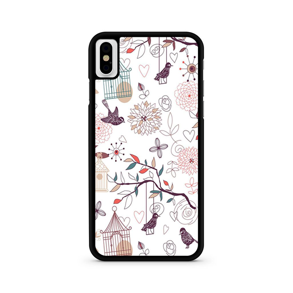 Birds Cage Doodle Parrot Budgie Exotic iPhone X case