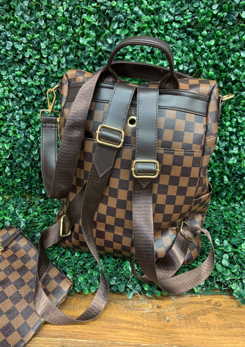 ACCESSORIES BROWN Brown Checked BackPack