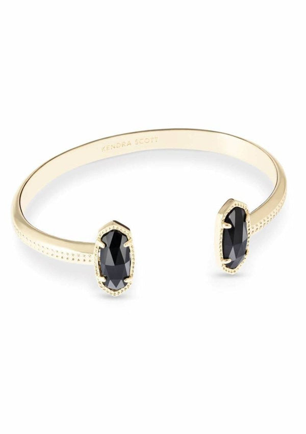 ACCESSORIES GOLDBLACK Kendra Elton Gold Black Opaque Glass Cuff Bracelet