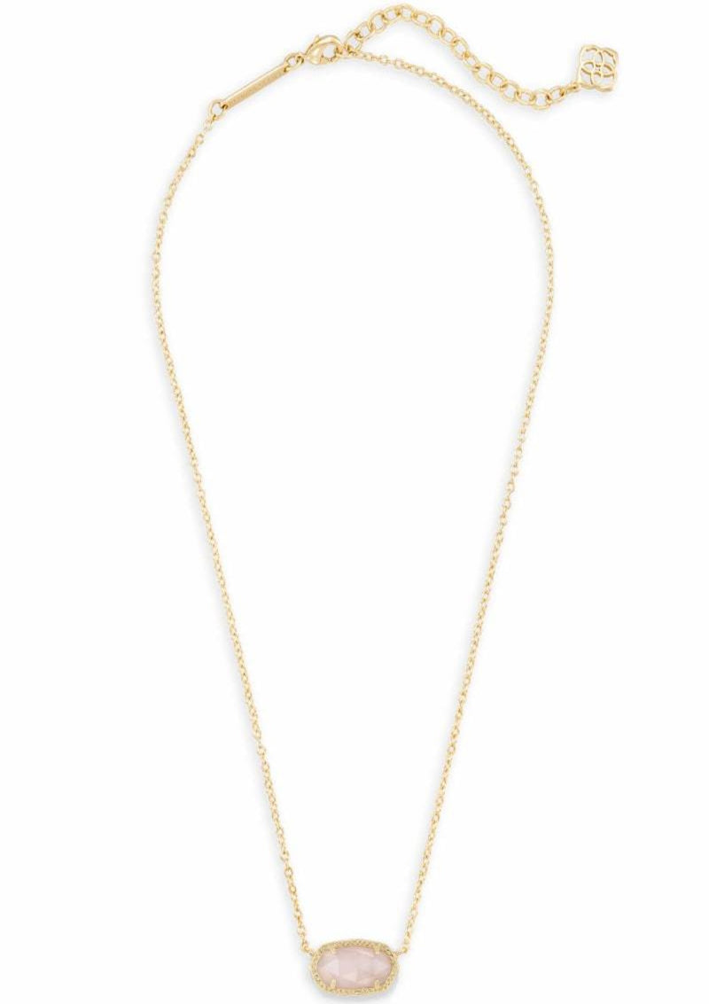 ACCESSORIES GOLDROSEQUARTZ Kendra Scott Gold Rose Quartz Pendant Necklace