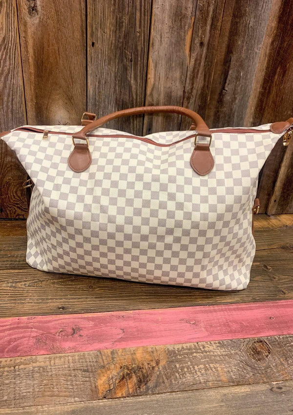 ACCESSORIES Ivory Ivory Checked Tote Bag