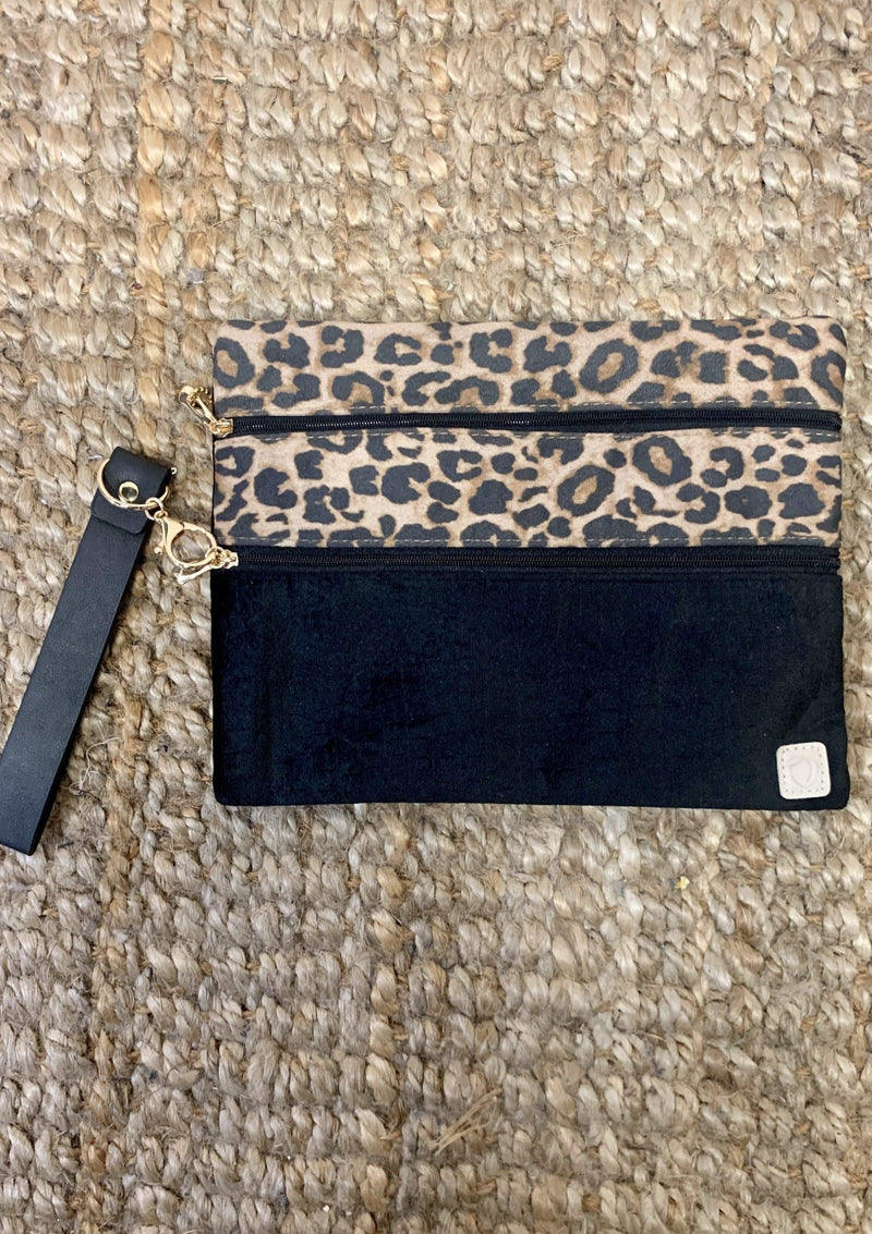 ACCESSORIES LEOPARD Black Velvet Cheetah Makeup Bag
