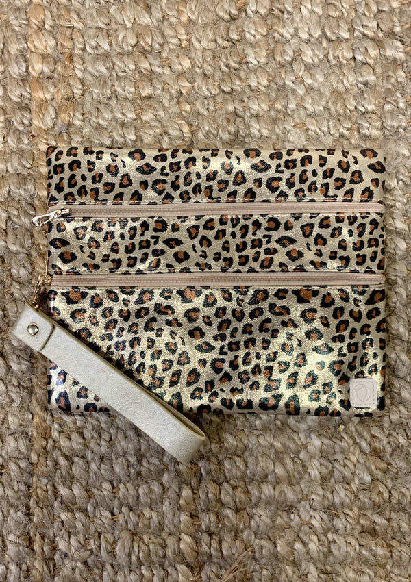 ACCESSORIES LEOPARD Gold Cheetah Makeup Bag