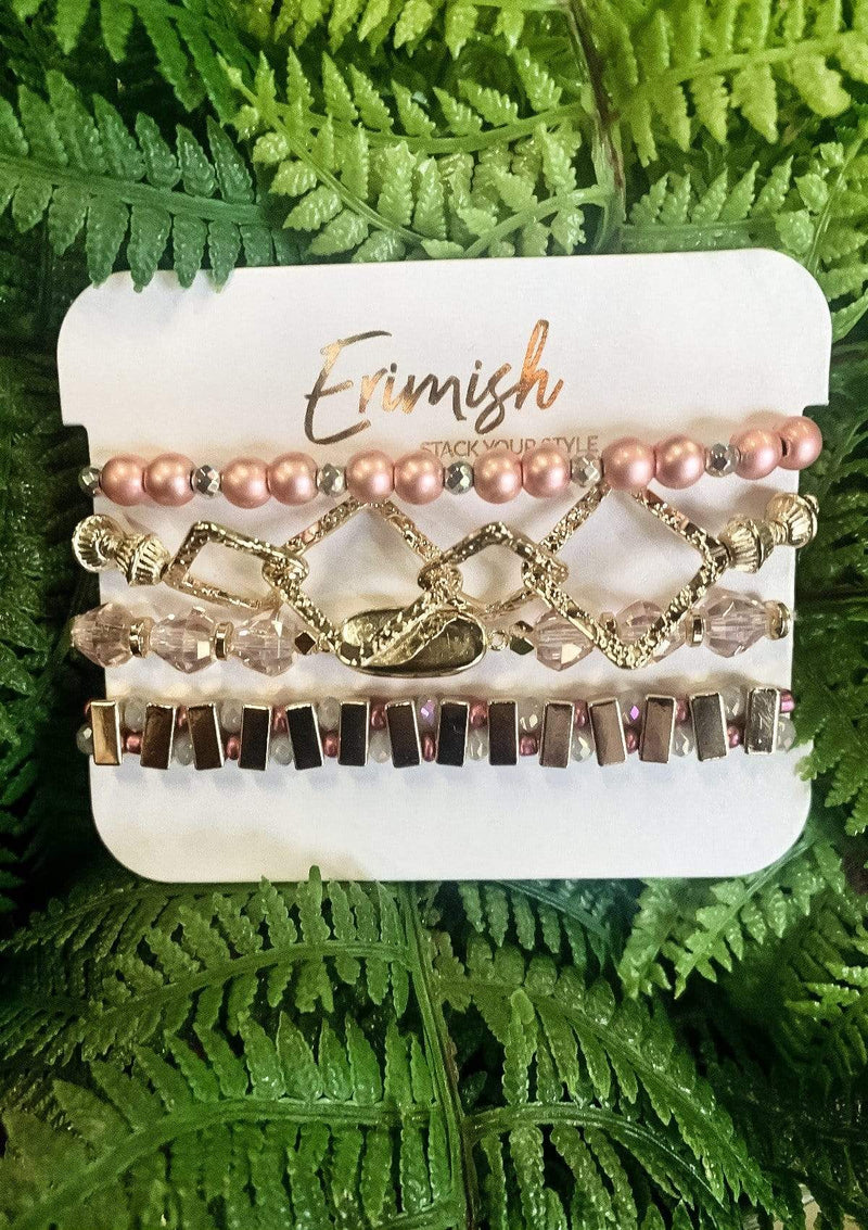 ACCESSORIES PINK/GOLD Erimish Stack Pink Geometric Bracelet Set
