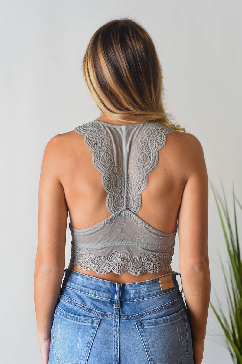 ACCESSORIES Take Me Away Bralette in Grey Mist