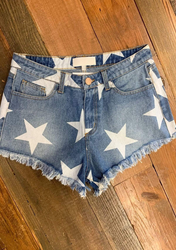 BOTTOMS S / DENIM Trend Setter Star Shorts