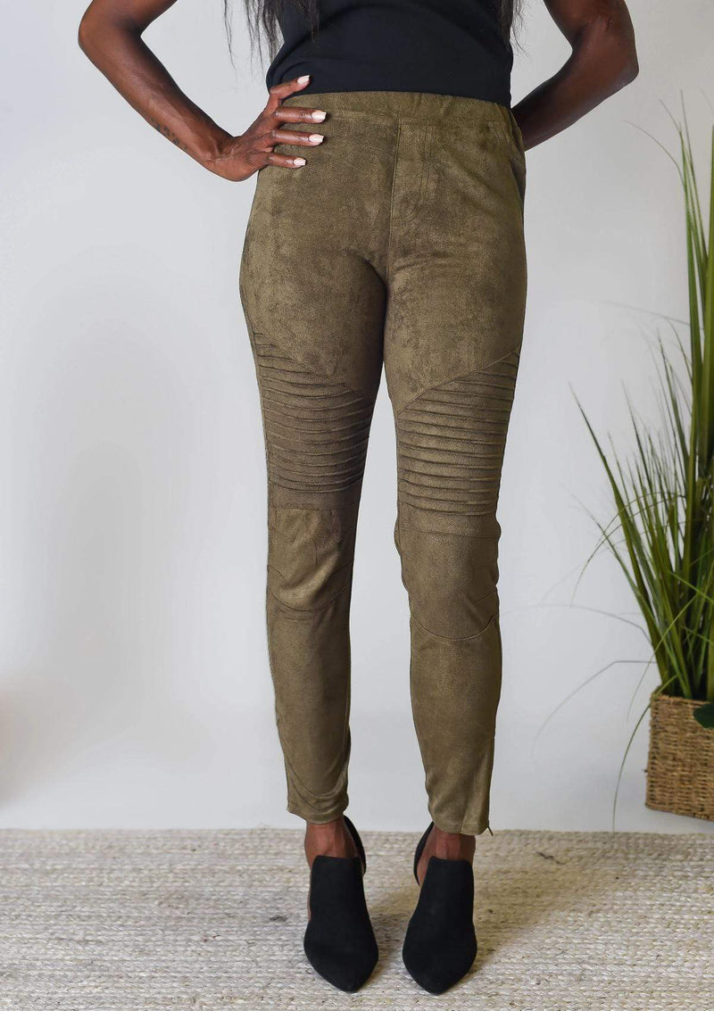 BOTTOMS S / OLIVE Sweet Suede Leggings in Olive