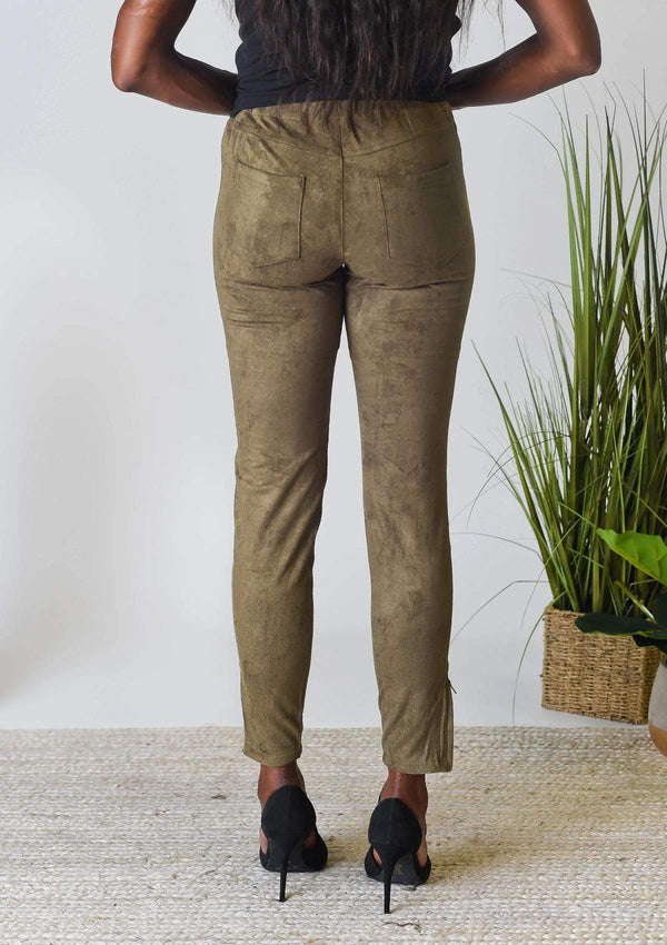 BOTTOMS Sweet Suede Leggings in Olive