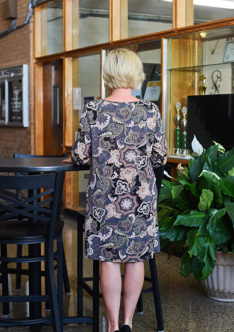 DRESSES L / BLACK/MAUVE Whimsical At Heart Printed Dress