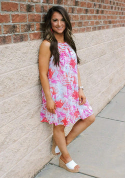 DRESSES S / IVORY/FUCHSIA Tropical Getaway Dress