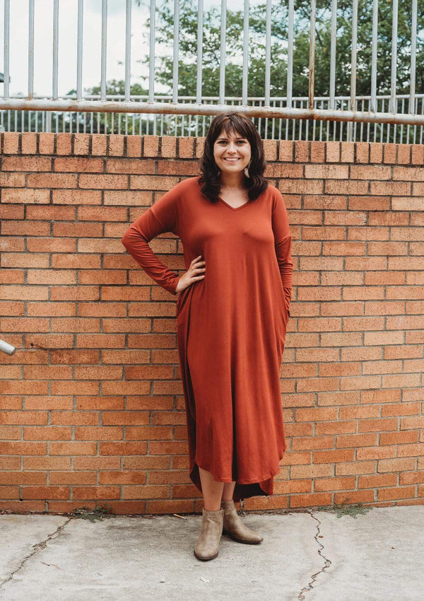 DRESSES S / RUST Fall for You Dress in Rust