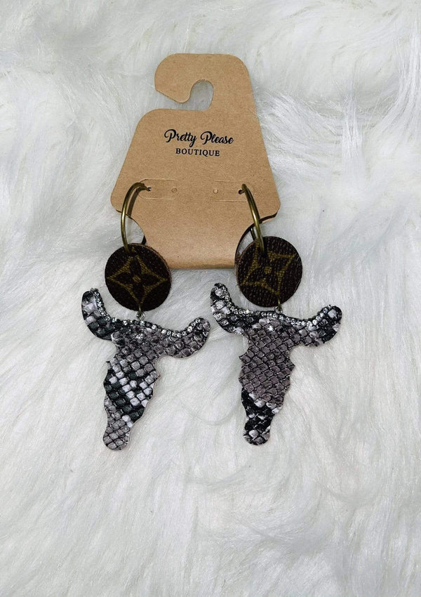 LV Repurposed Bull Earrings