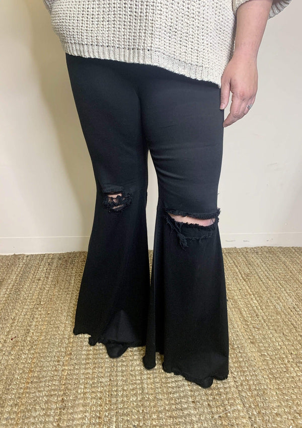 PLUS BOTTOMS 1X / BLACK Falling Fast Bell Bottoms In Black In Plus