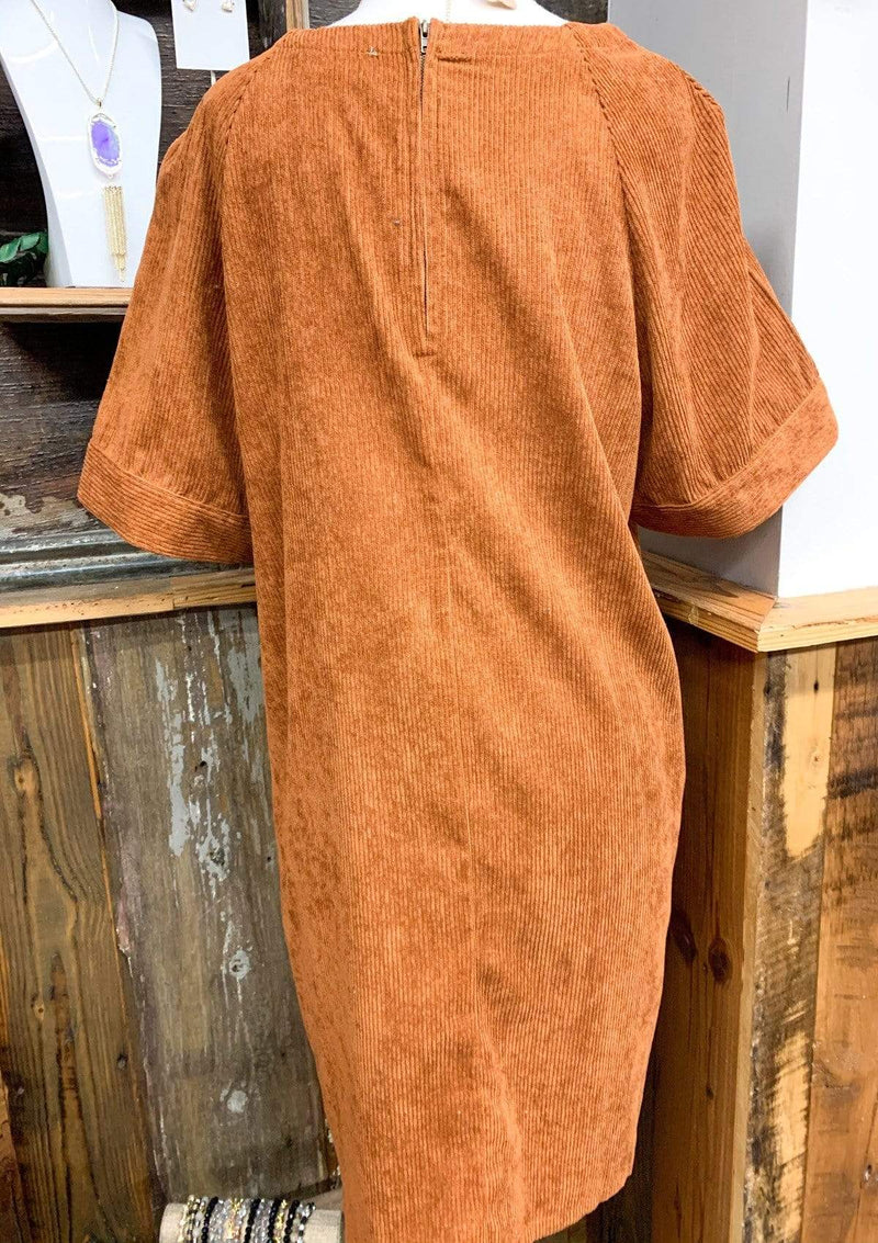 PLUS DRESSES 1XL / CAMEL Corduroy Cutie Dress In Plus