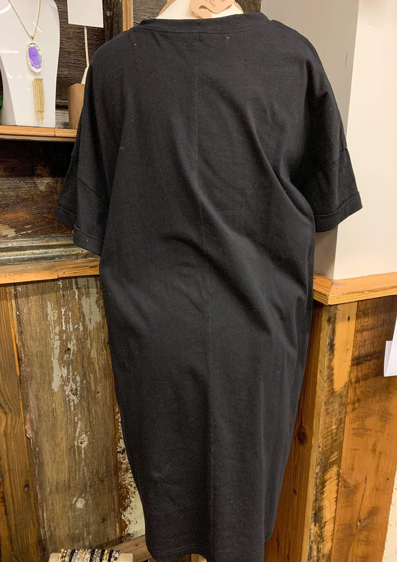 PLUS DRESSES Simple Pocket Tee Dress In Black In Plus