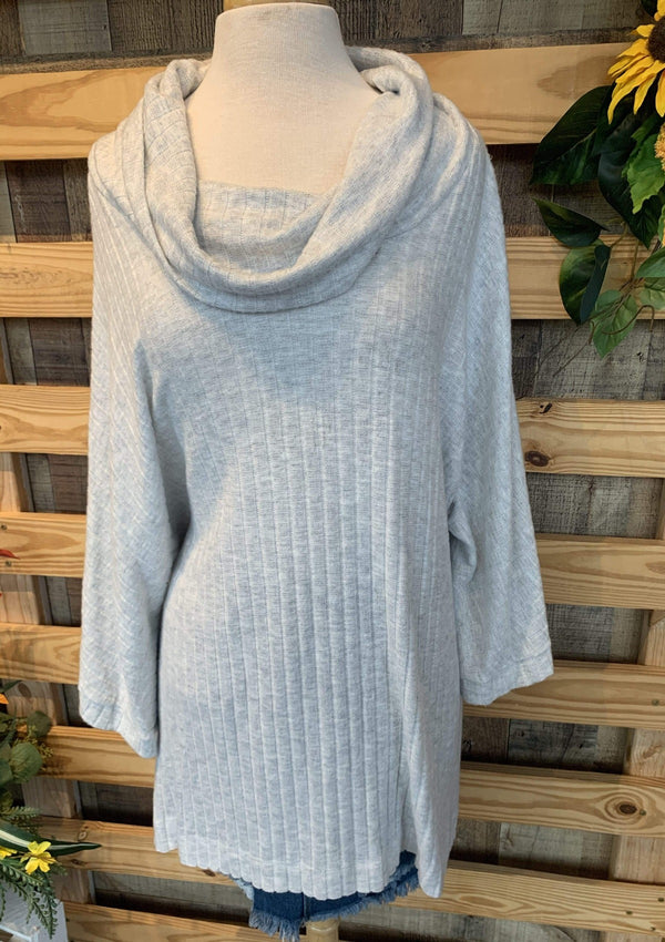 PLUS TOPS 1X / HEATHERGREY By The Fire Sweater In Plus