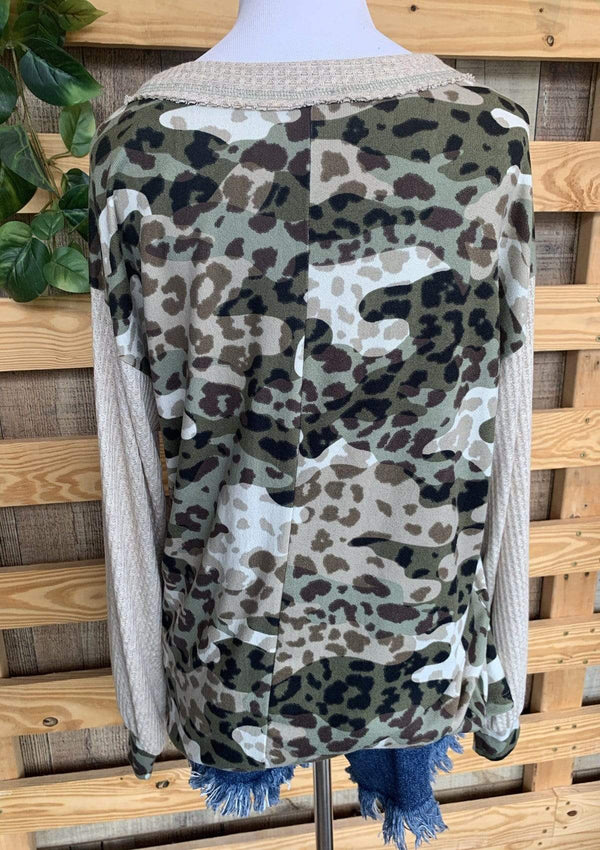 PLUS TOPS Cozy Camo Top