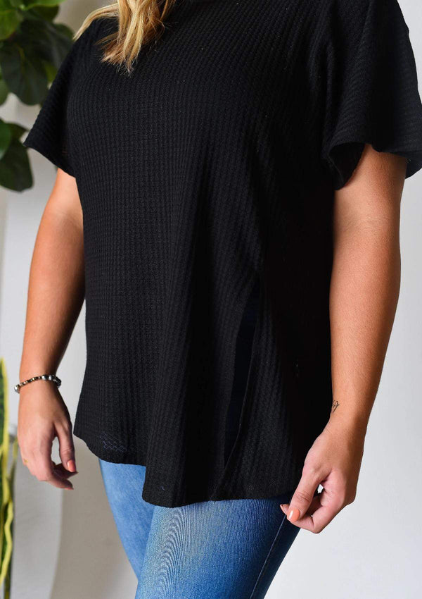 PLUS TOPS Made For You Knit Plus Top In Black