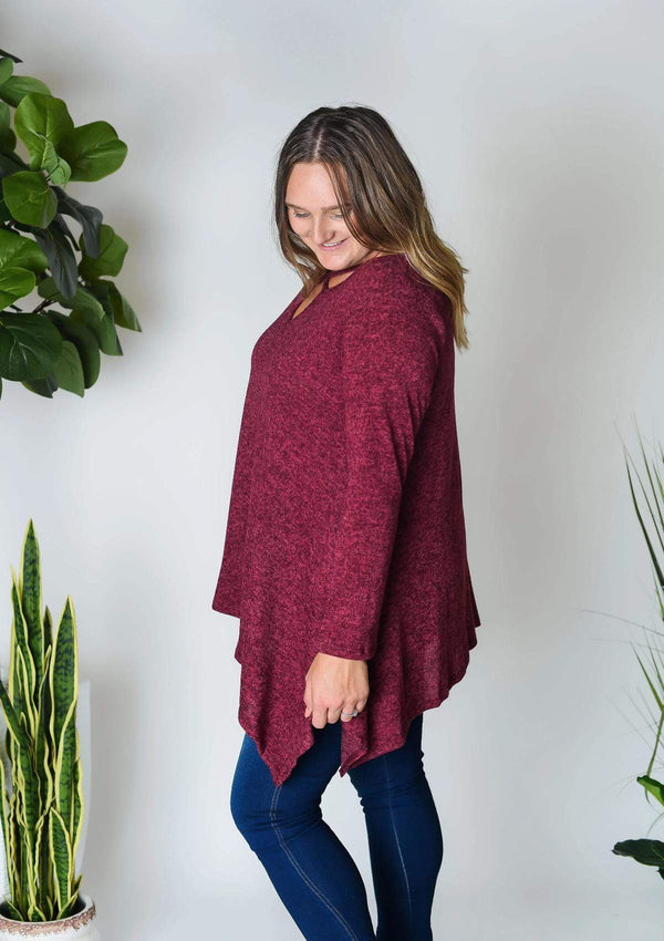 PLUS TOPS Merlot Please Tunic Plus Top