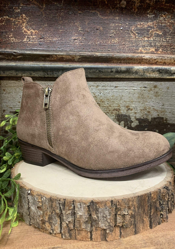 PLUS TOPS Taupe On The Town Booties