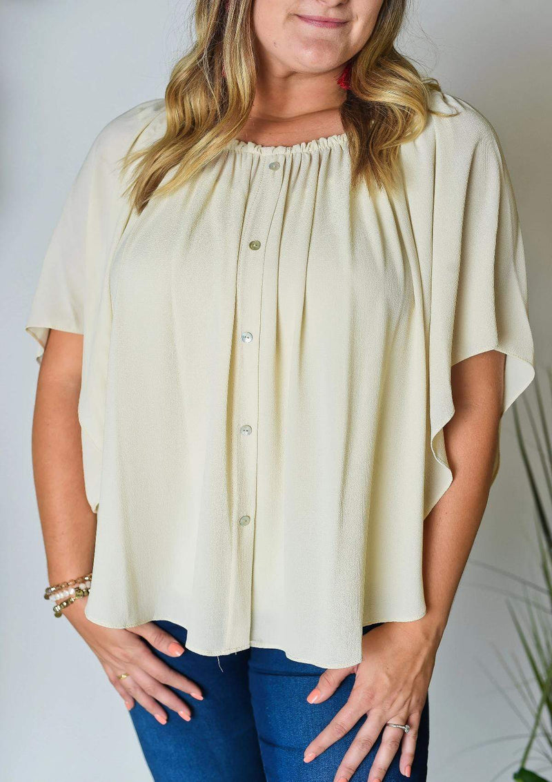 PLUS TOPS Wishful Thinking Plus Top In Champagne