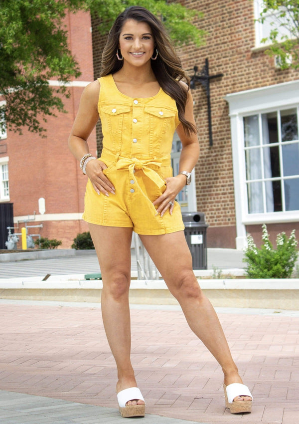 Got You Girl Mustard Romper