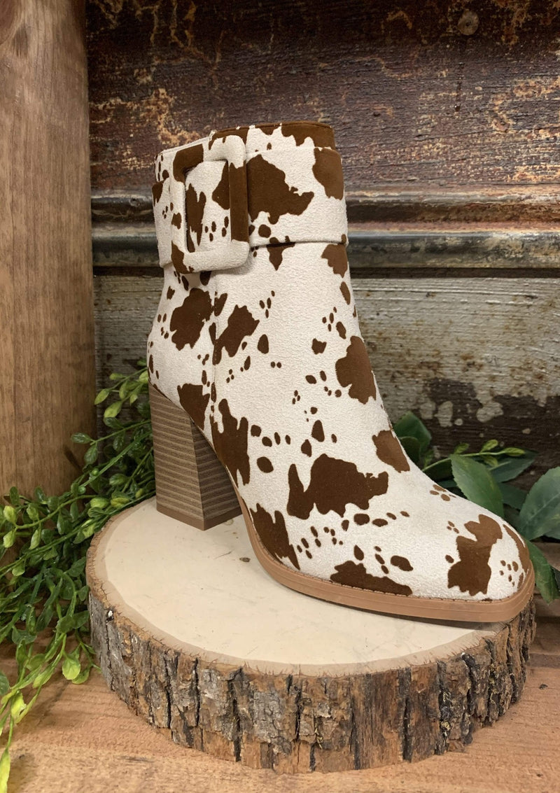 SHOES 5.5 / BEIGECOMBO Belted Babe Booties In Cow Print