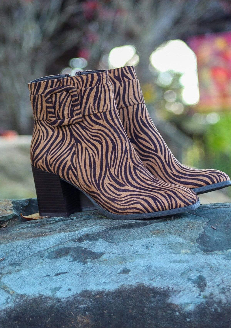 SHOES 5.5 / TIGERPRINT Belted Babe Booties In Tiger Print
