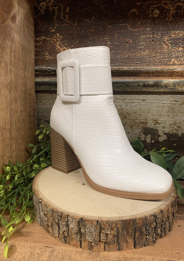 SHOES 5.5 / WHITE Belted Babe Booties In Ivory