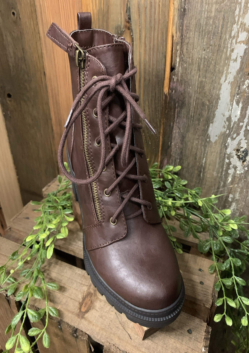 SHOES Lace Up Combat Boots In Brown