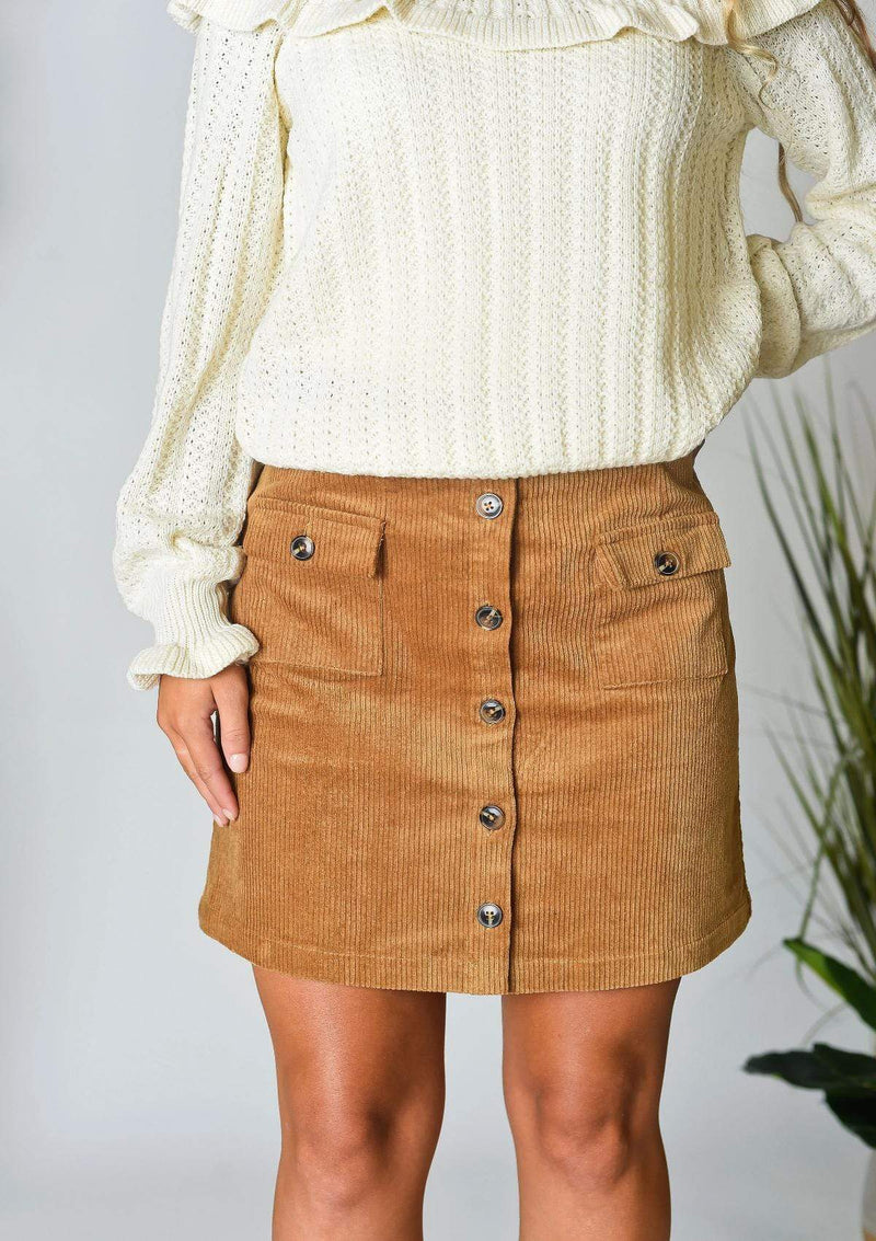 SKIRTS S / WALNUT Committed To You Camel Mini Skirt