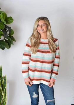 SWEATERS S / MINT/BLUSH/RUST Stripe A Pose Sweater