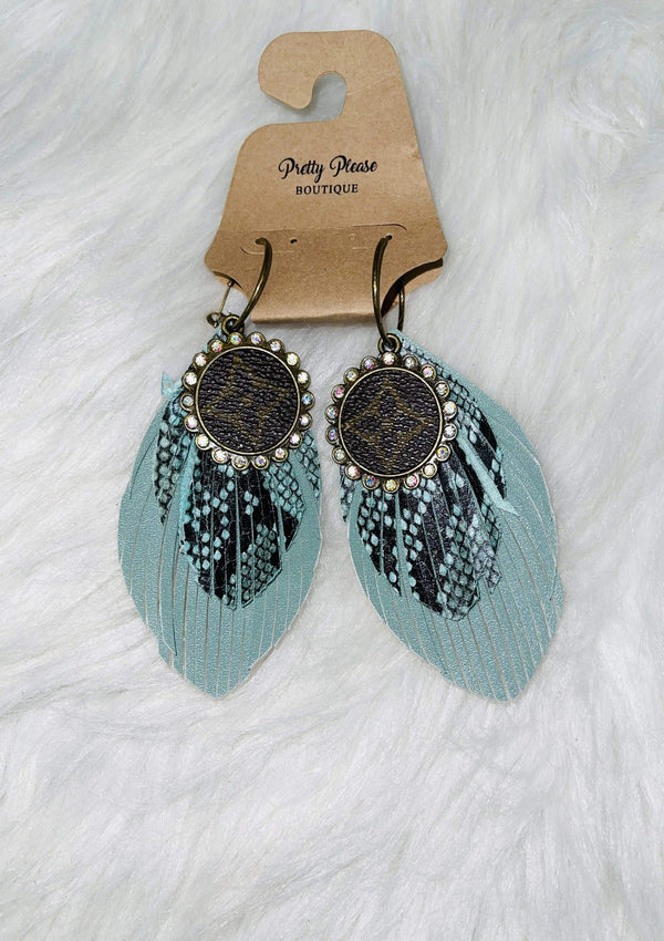 TEALSNAKE LV Repurposed Fringe Feather Earrings