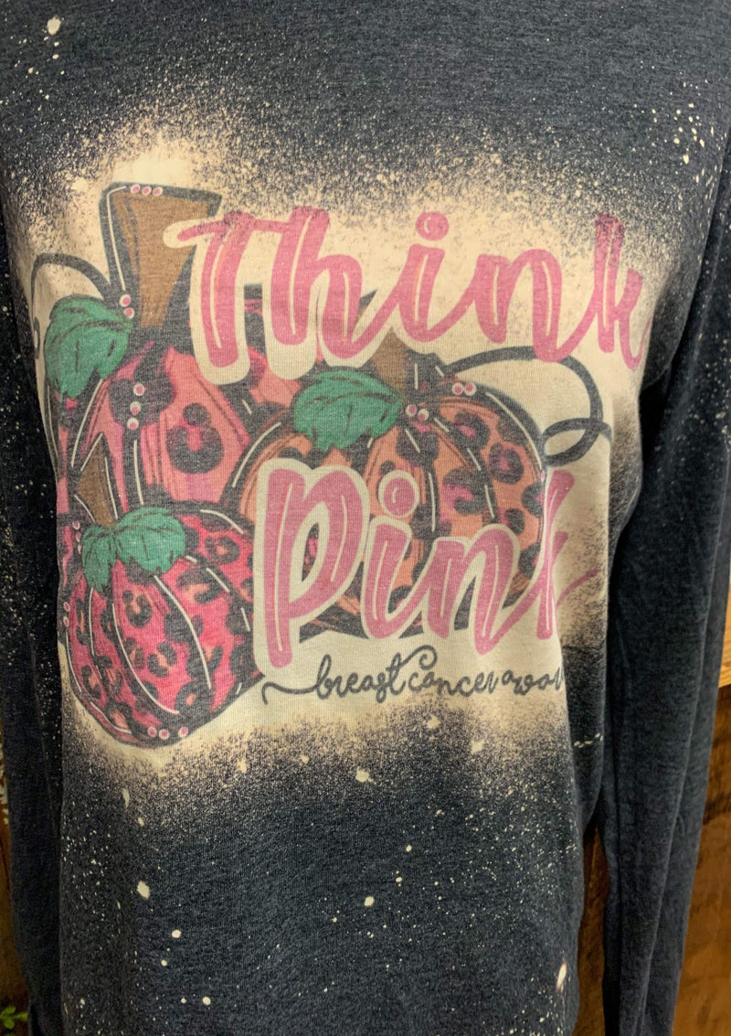 TOPS Bleached Breast Cancer Long Sleeve