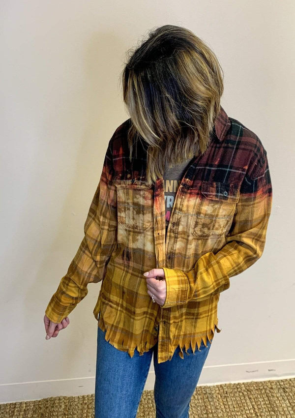 TOPS Bleached Flannel In Maroon/Mustard