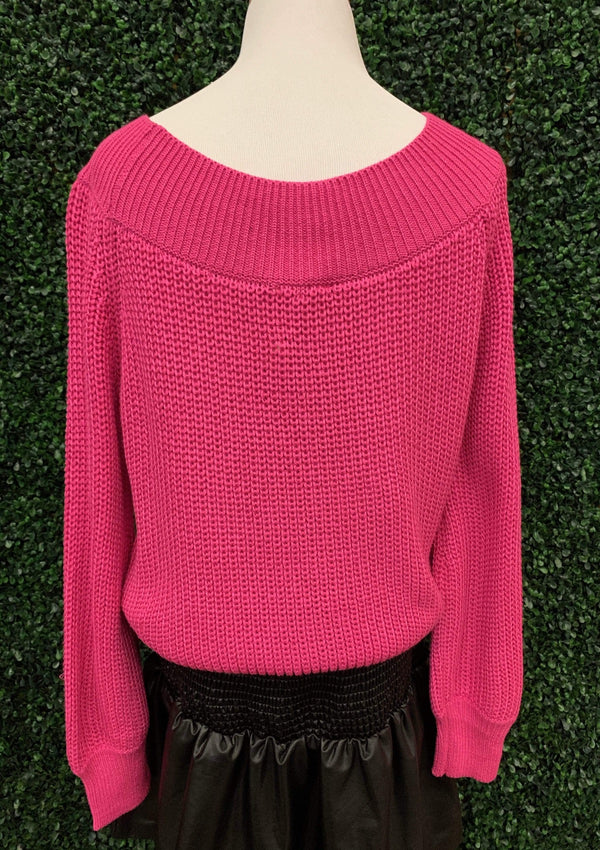 TOPS Bombshell Beauty Sweater In Hot Pink