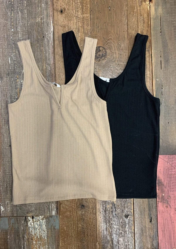 TOPS Count On Me Tank Top in TAUPE