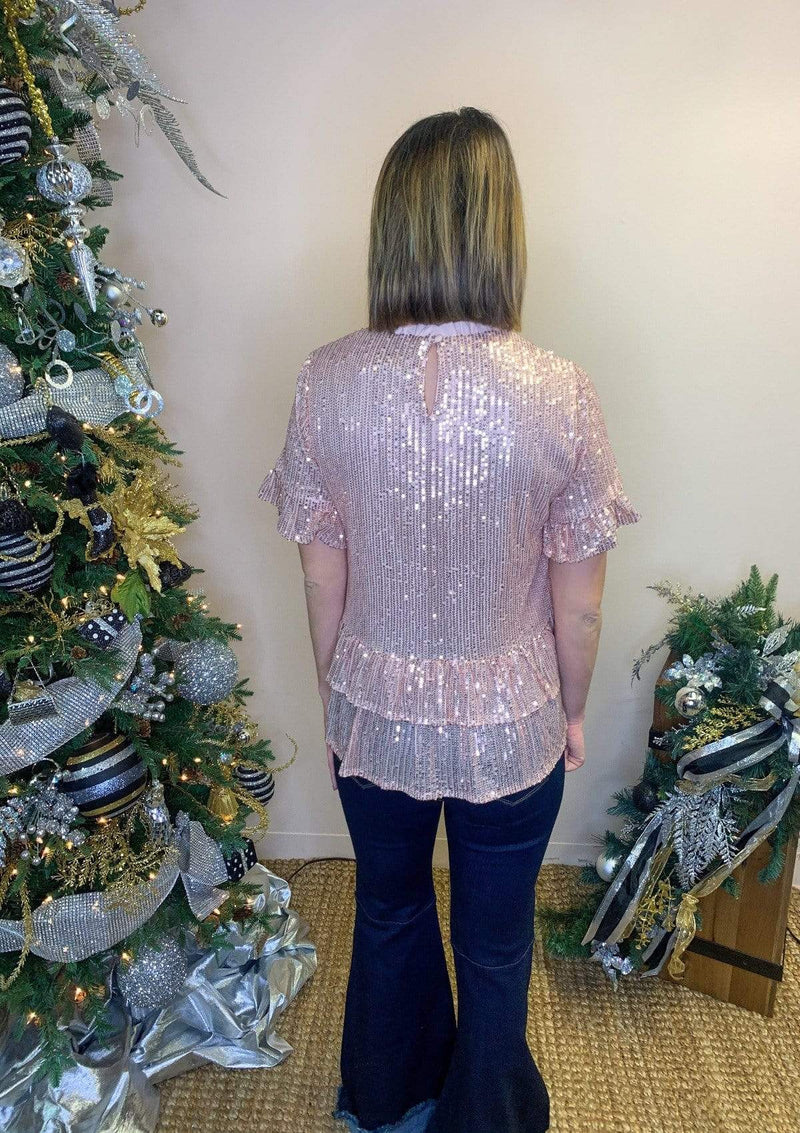 TOPS Holiday Magic Top In Rose