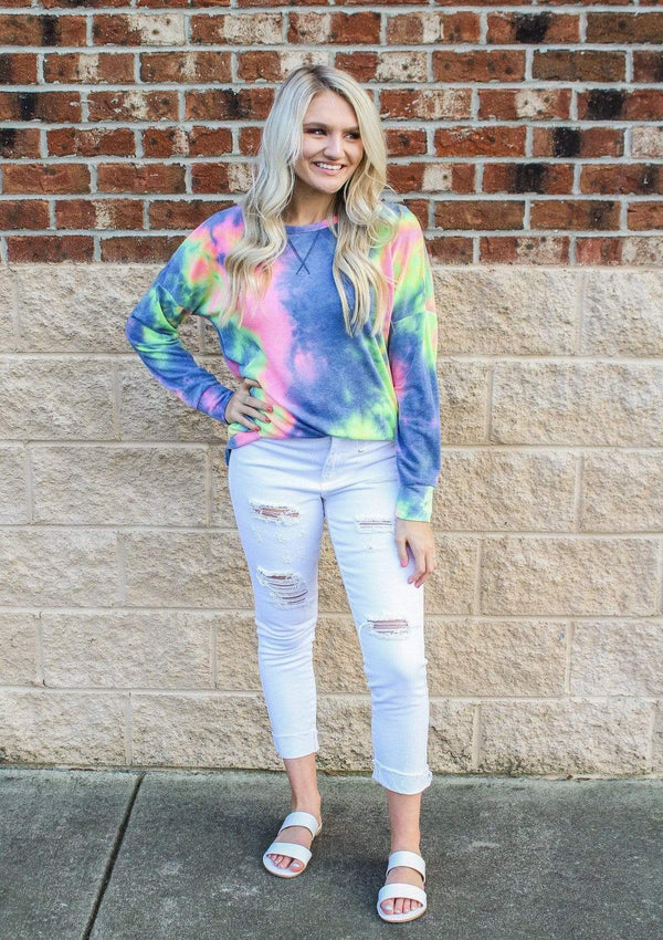 TOPS Pop Of Joy Tie Dye Top