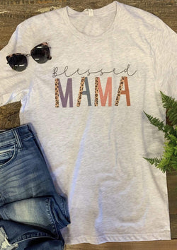 TOPS S / ASHGRAY Blessed Mama Tee