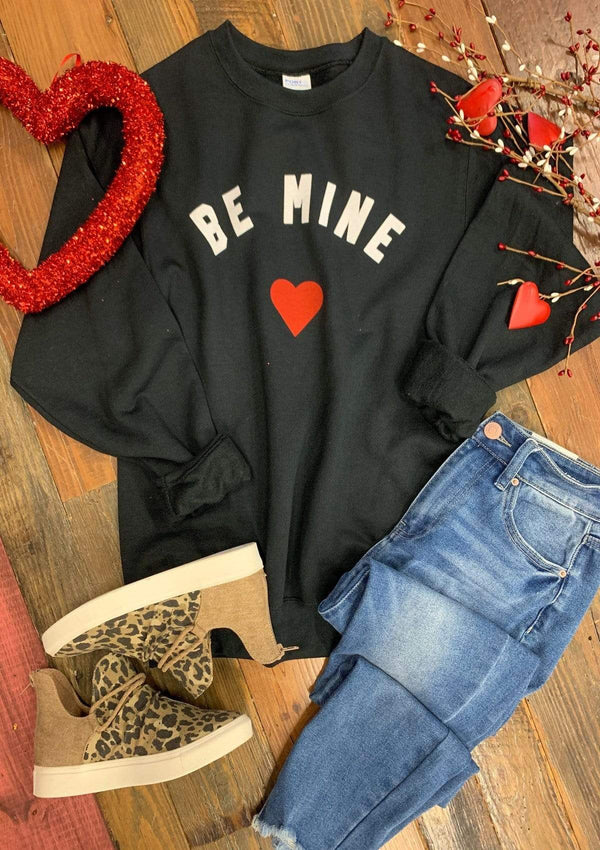 TOPS S / BLACK Be Mine Pullover