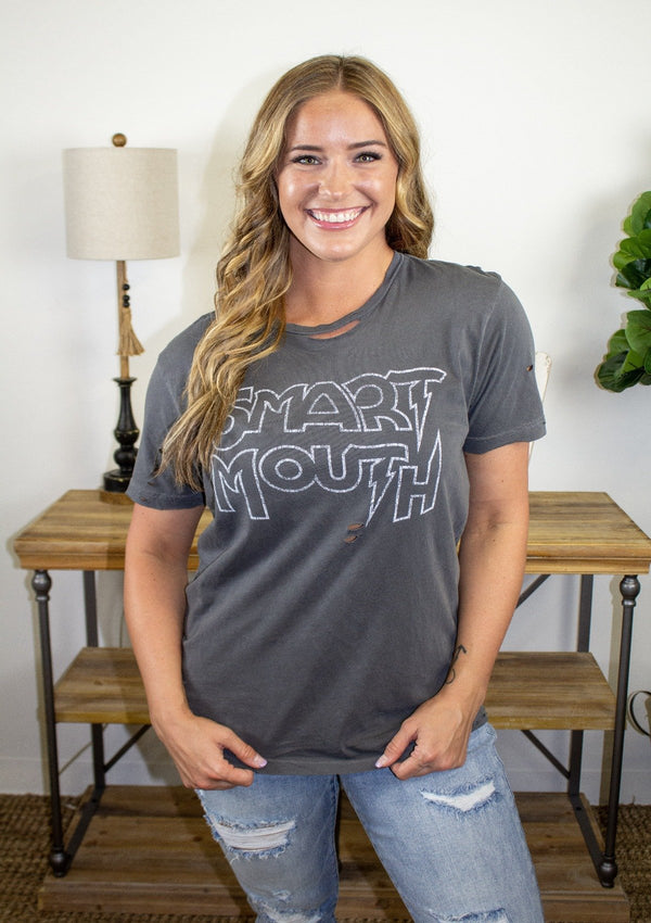 TOPS S / BLACK Smart Mouth Tee
