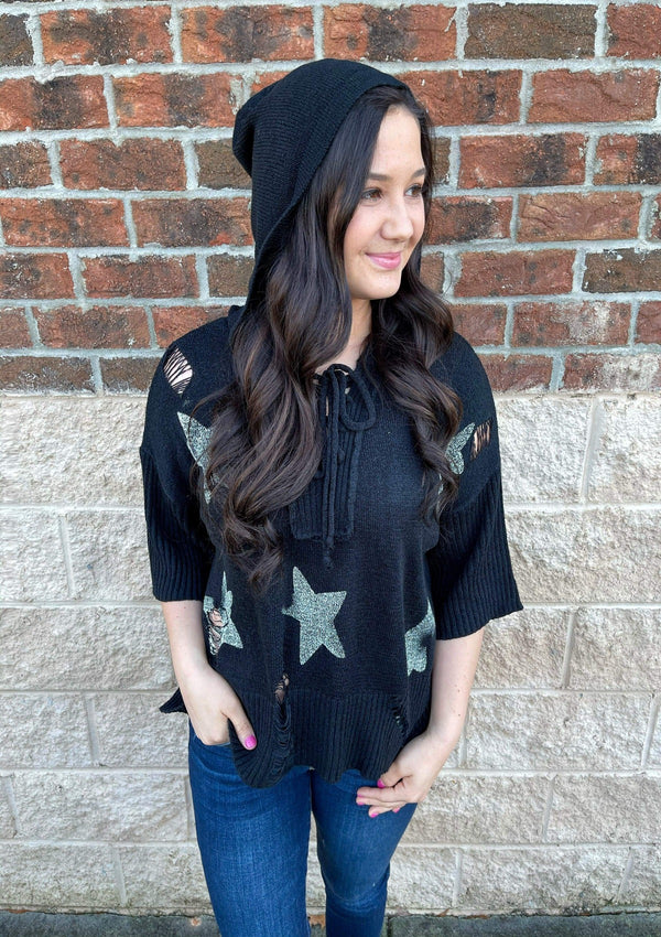 TOPS S / BLACK/WHITE Star Of The Show Sweater