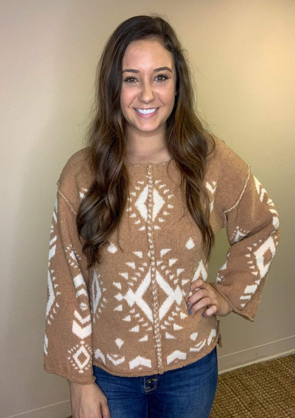 TOPS S / CAMEL Aztec Memories Sweater