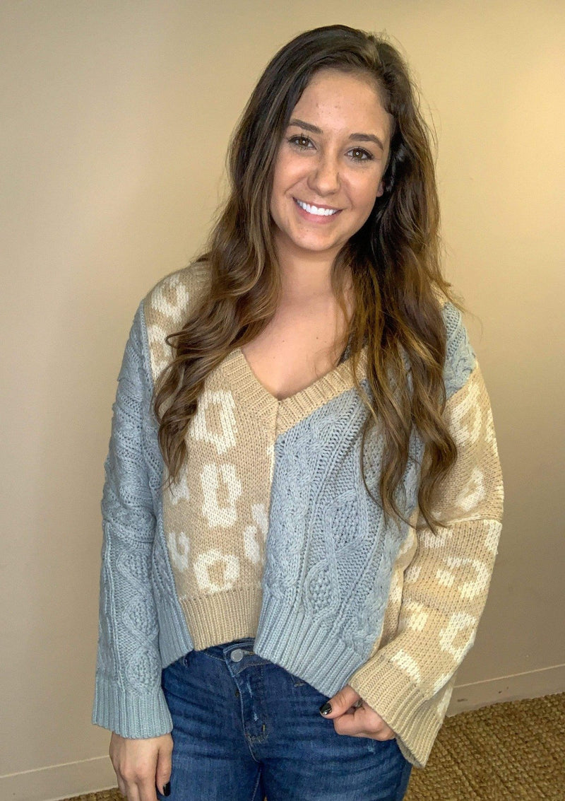 TOPS S / Camel/Grey Sweet And Sassy Sweater