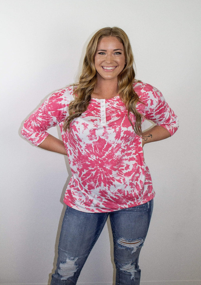 TOPS S / FUSHIA/IVORY Summer Blast Top