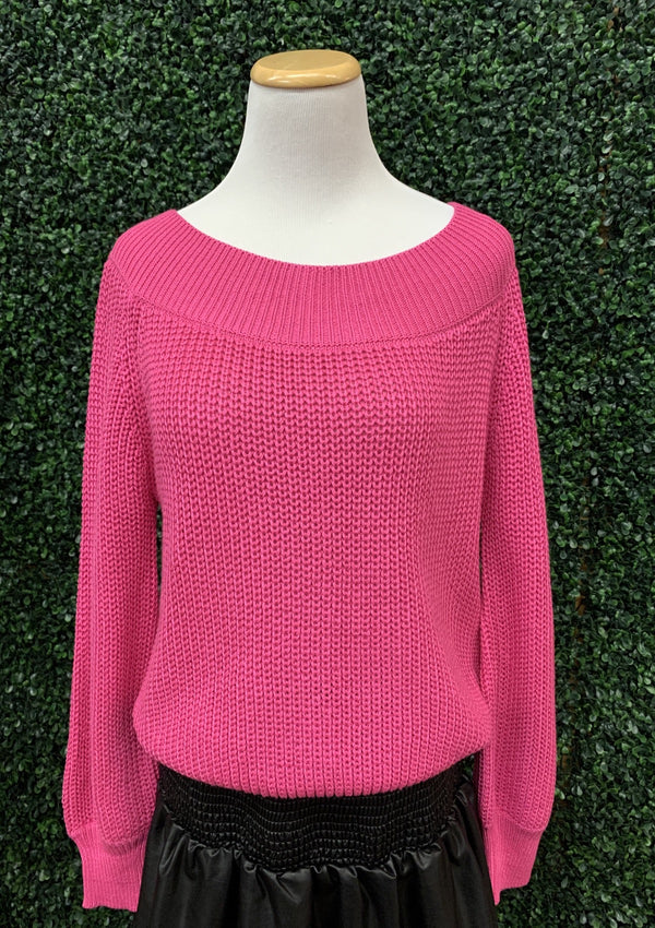 TOPS S/M / HOTPINK Bombshell Beauty Sweater In Hot Pink