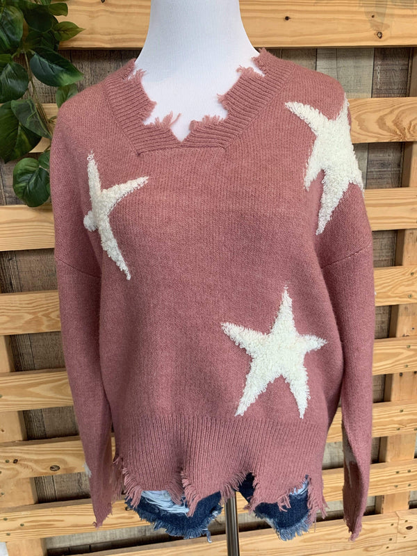 TOPS S/M / MAUVE Stars Among Us Sweater