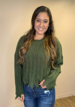 TOPS S / Olive Wishing On You Sweater