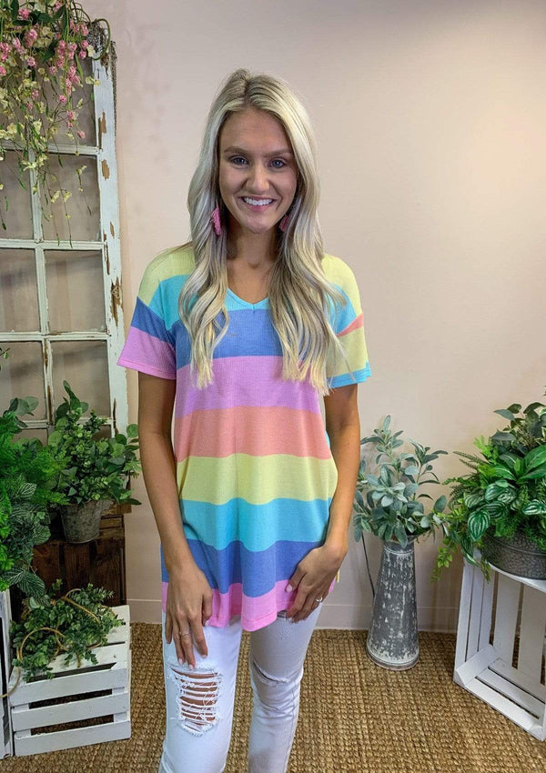 TOPS S / PINK/BLUE Follow The Rainbow Top